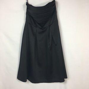 WHBM Strapless Pleated Black Dress
